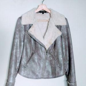 Express Faux Fur Lined Metallic Moto Jacket